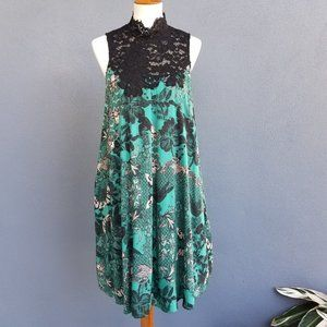 Anthropologie Maeve butterfly lace green dress M